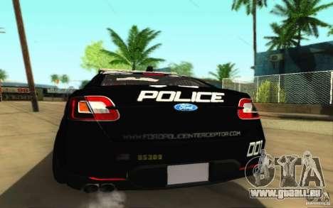 Ford Taurus 2011 LAPD Police für GTA San Andreas rechten Ansicht