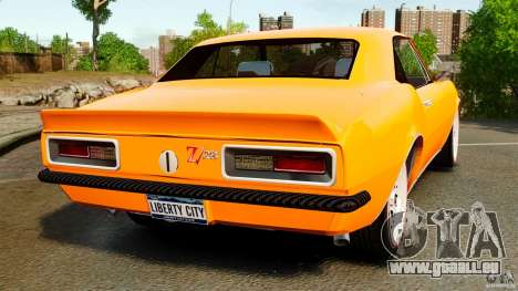 Chevrolet Camaro Z28 1969 pour GTA 4 Vue arrière de la gauche