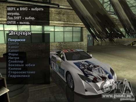 Lexus LFA Custom für GTA San Andreas Innenansicht
