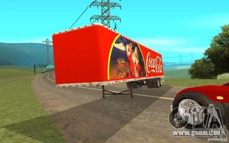 La semi-remorque à la coutume Peterbilt 379 Coca pour GTA San Andreas sur la vue arrière gauche