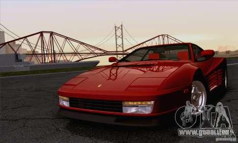 Ferrari Testarossa 1986 für GTA San Andreas Rückansicht