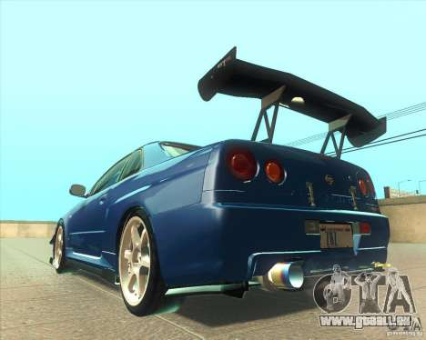 Nissan Skyline GT-R R34 M-Spec Nur pour GTA San Andreas vue de côté