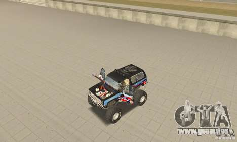 Chevrolet Blazer K5 Monster Skin 1 pour GTA San Andreas vue arrière
