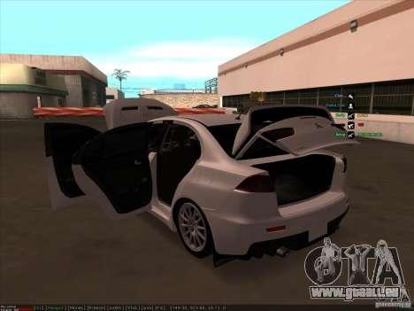 Mitsubishi Lancer Evolution X pour GTA San Andreas vue de dessous