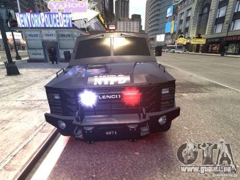 Lenco BearCat NYPD ESU V.1 pour GTA 4 est une vue de l'intérieur