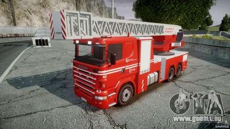 Scania Fire Ladder v1.1 Emerglights blue-red ELS pour GTA 4 Vue arrière de la gauche