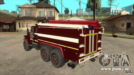 Ural pompier 43206 pour GTA San Andreas sur la vue arrière gauche