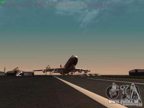 Boeing 747-446 Japan-Airlines pour GTA San Andreas vue de dessus