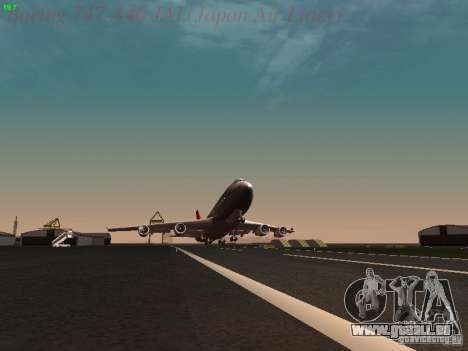 Boeing 747-446 Japan-Airlines für GTA San Andreas obere Ansicht