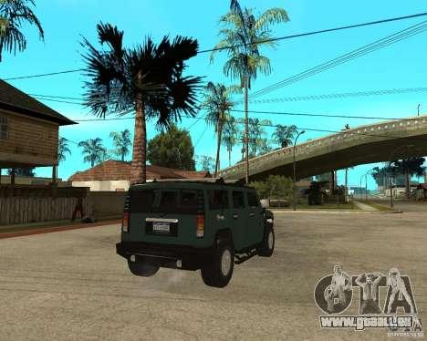 AMG H2 HUMMER SUV pour GTA San Andreas sur la vue arrière gauche