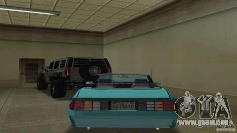 Chevrolet Camaro Convertible 1986 pour une vue GTA Vice City de la droite