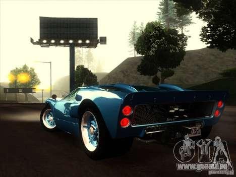 Ford GT40 1966 für GTA San Andreas Innenansicht