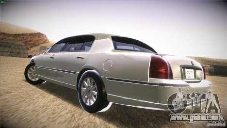 Lincoln Towncar 2010 pour GTA San Andreas sur la vue arrière gauche