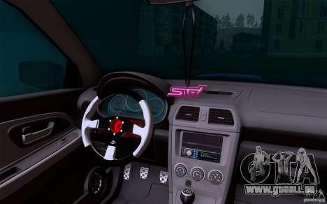 Subaru Impreza WRX STI für GTA San Andreas Innenansicht