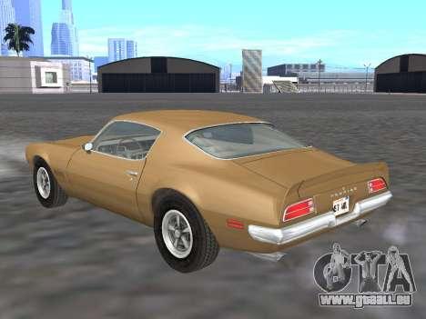 Pontiac Firebird Trans Am 1970 für GTA San Andreas zurück linke Ansicht