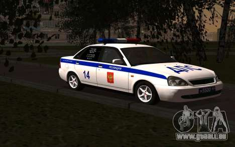 LADA 2170 Police pour GTA San Andreas vue de droite