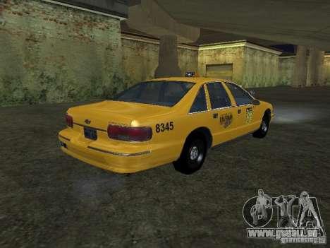 Chevrolet Caprice 1993 Taxi pour GTA San Andreas sur la vue arrière gauche