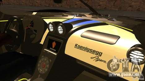 Koenigsegg Agera 2010 pour GTA San Andreas vue de dessous