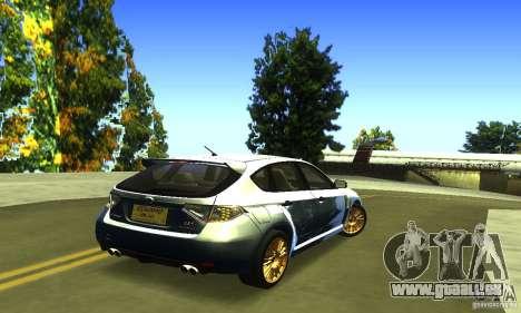 Subaru Impresa WRX STI 2008 pour GTA San Andreas sur la vue arrière gauche