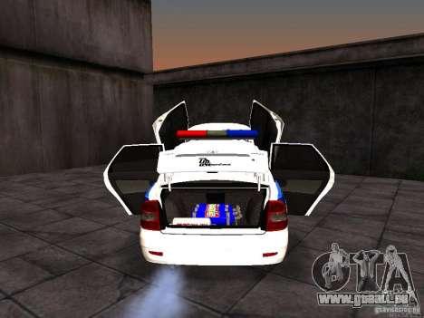 LADA 2170 Police pour GTA San Andreas vue intérieure