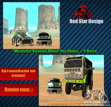 Monster Energy Vinyl für GTA San Andreas Innenansicht
