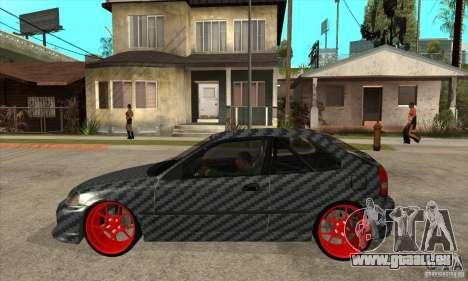 Honda Civic Carbon Latvian Skin pour GTA San Andreas sur la vue arrière gauche