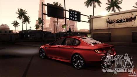 BMW M5 F10 2012 pour GTA San Andreas laissé vue
