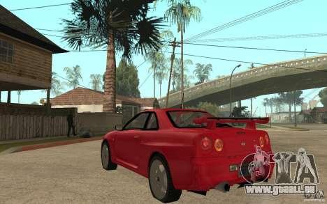 Nissan Skyline R34 GTR V-Spec für GTA San Andreas zurück linke Ansicht