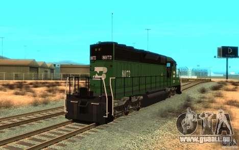 Locomotive SD 40 Burlington Northern 8072 pour GTA San Andreas sur la vue arrière gauche