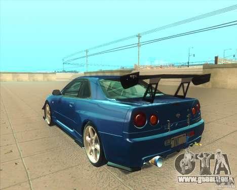 Nissan Skyline GT-R R34 M-Spec Nur für GTA San Andreas zurück linke Ansicht