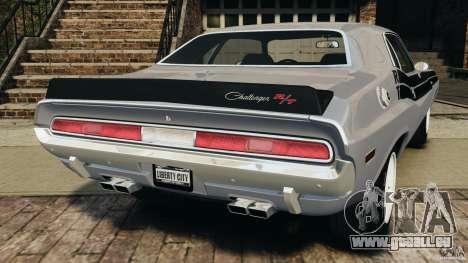 Dodge Challenger RT 1970 v2.0 pour GTA 4 Vue arrière de la gauche