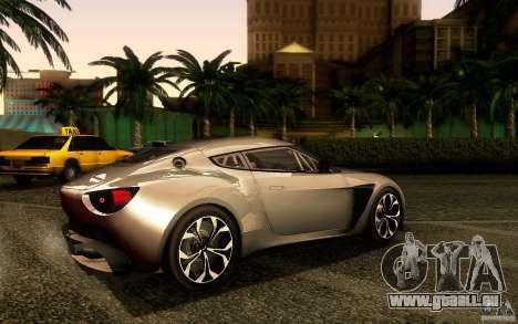 Aston Martin Zagato V12 V1.0 für GTA San Andreas zurück linke Ansicht