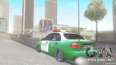Daewoo Lanos De Carabineros De Chile für GTA San Andreas zurück linke Ansicht