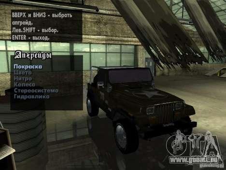 Jeep Wrangler 1986 4.0 Fury v.3.0 für GTA San Andreas Rückansicht