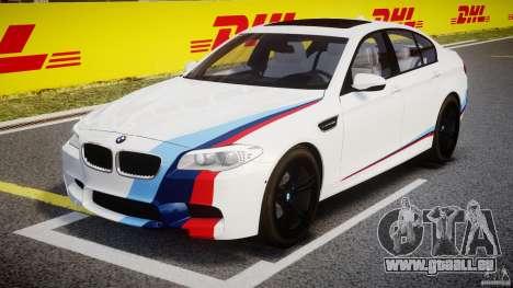 BMW M5 F10 2012 M Stripes pour GTA 4 est une vue de l'intérieur