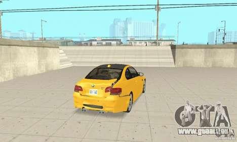BMW M3 2008 für GTA San Andreas Unteransicht