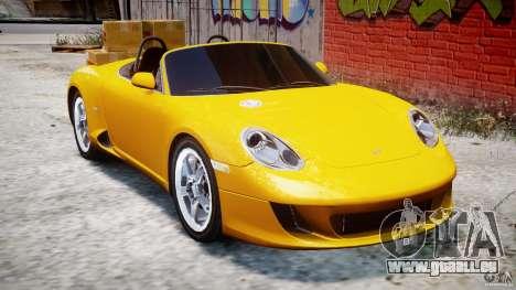 Ruf RK Spyder v0.8Beta pour GTA 4 est une vue de l'intérieur