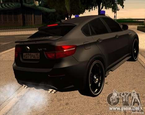 BMW X6 M E71 pour GTA San Andreas sur la vue arrière gauche