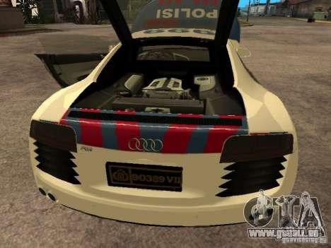 Audi R8 Police Indonesia für GTA San Andreas Rückansicht