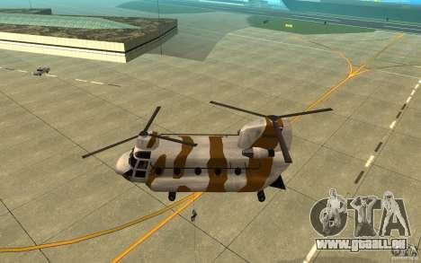 GTA SA Chinook Mod pour GTA San Andreas vue de dessus