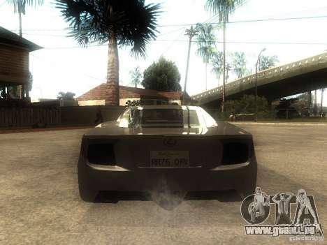 Lexus LFA Custom pour GTA San Andreas sur la vue arrière gauche