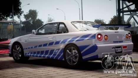 Nissan Skyline GT-R34 FNF pour GTA 4 est une gauche