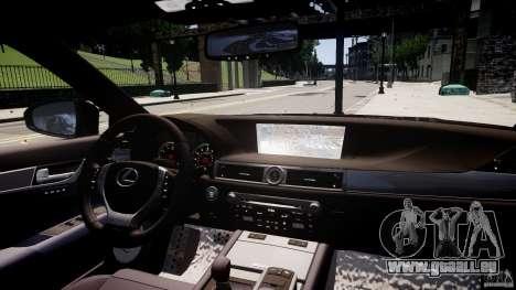 Lexus GS350 F Sport 2013 für GTA 4 obere Ansicht