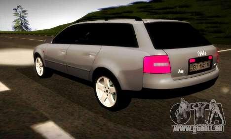 Audi A6 C5 Avant 3.0 pour GTA San Andreas sur la vue arrière gauche