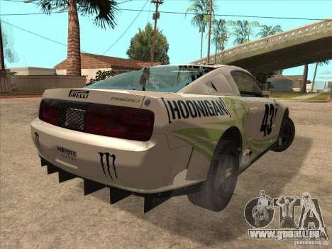 Ford Mustang Ken Block für GTA San Andreas zurück linke Ansicht