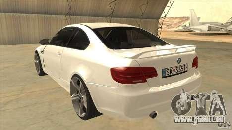BMW 335i Coupe 2011 pour GTA San Andreas sur la vue arrière gauche