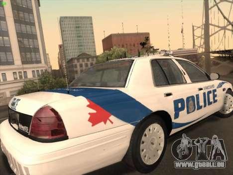 Ford Crown Victoria Vancouver Police pour GTA San Andreas vue de droite