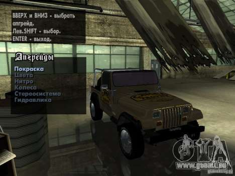 Jeep Wrangler 1986 4.0 Fury v.3.0 pour GTA San Andreas vue intérieure