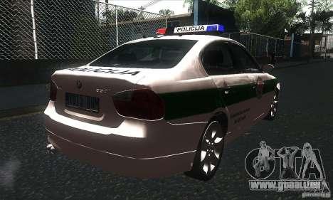 BMW 330 E90 Policija pour GTA San Andreas vue de droite
