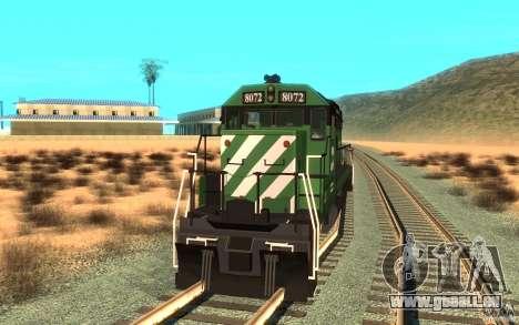 Locomotive SD 40 Burlington Northern 8072 pour GTA San Andreas vue de droite